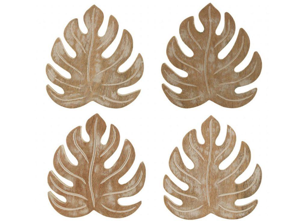 podtácky pod poháre v tvare listov monstery z mangového dreva