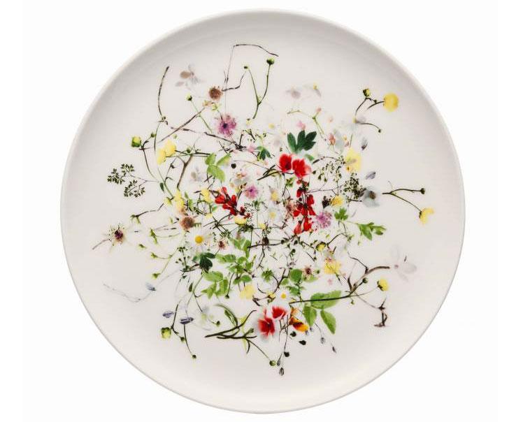 porcelánový tanier na pečivo s motívom kvetov