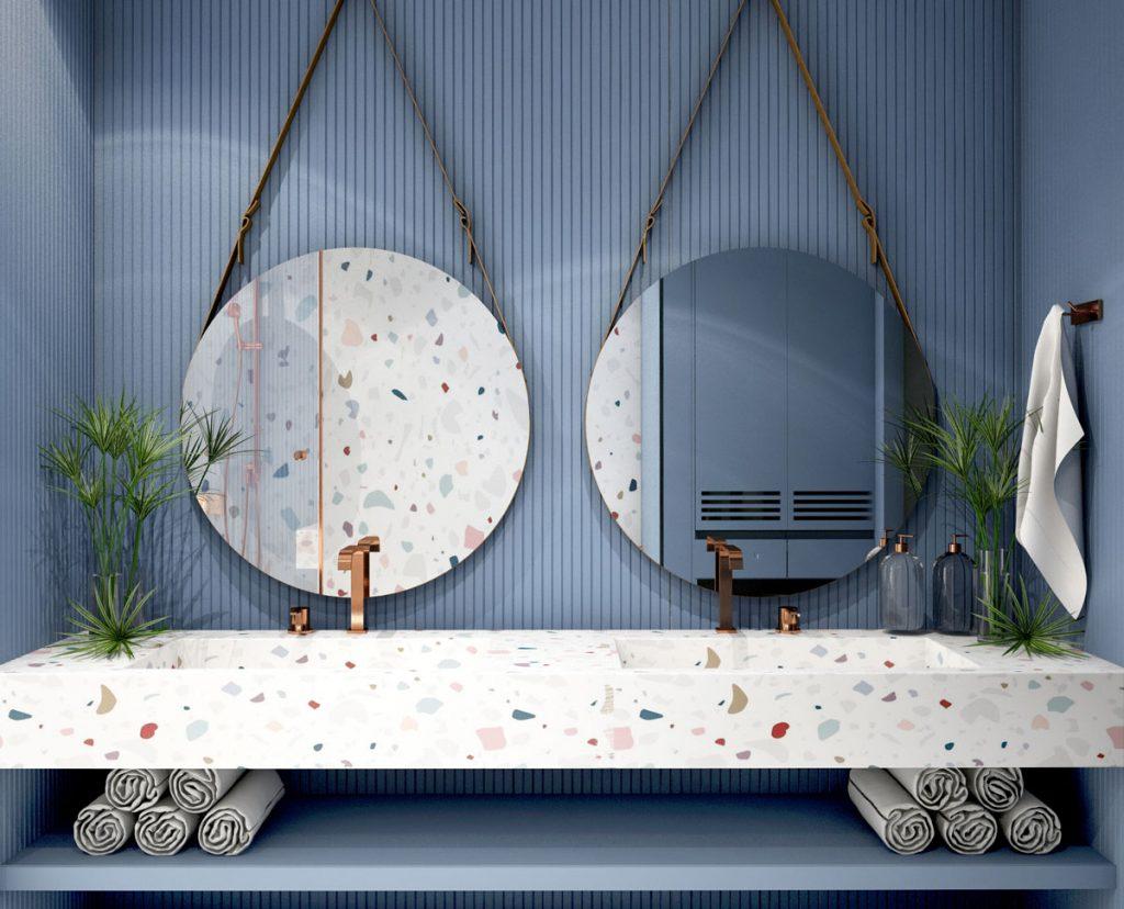Inšpirácia na zrkadlá do kúpeľne: kúpeľňa s okrúhlymi zrkadlami