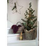 Inšpirácie na vianočný stromček: Živý stromček so svetielkami v pletenom koši