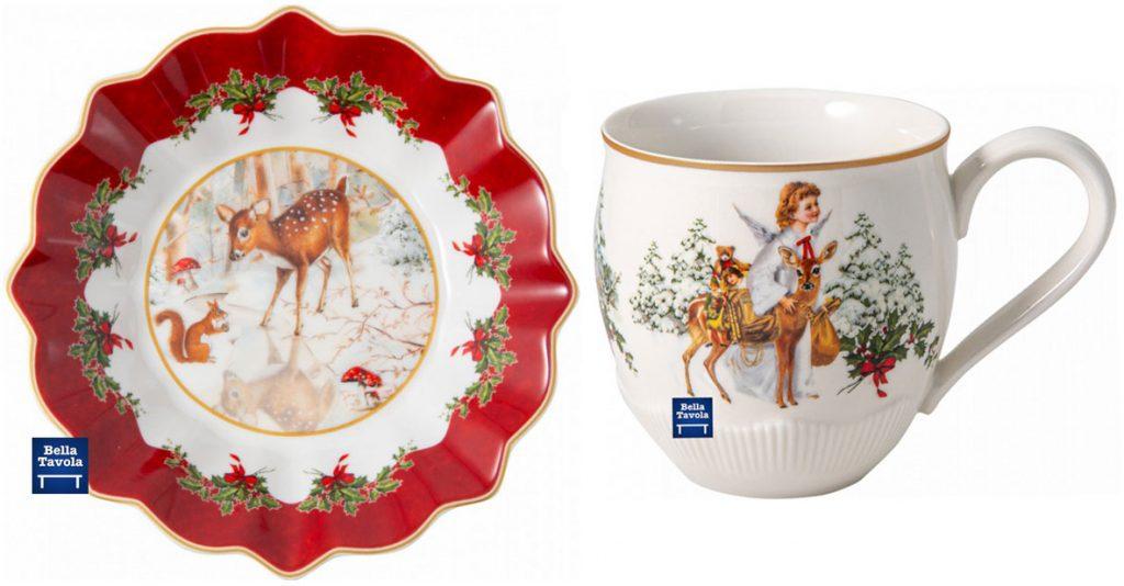 vianočné porcelánové riady: misa s motívom srnky a hrnček s anjelom