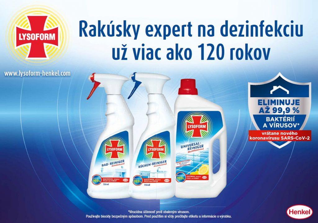 Lysoform dezinfekčné produkty na čistenie domácnosti