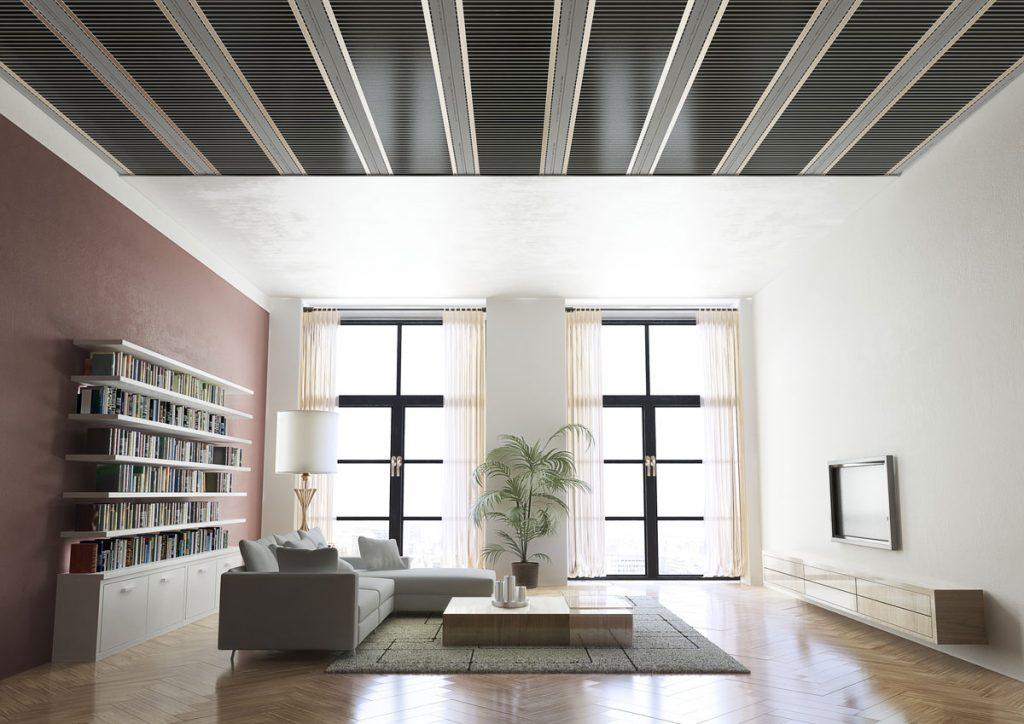 Interiér so stropným vykurovaním