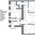 Pôdorys bytu po rekonštrukcii trojizbového na dve samostatné jednotky