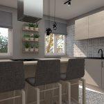 Zmodernizovaná priechodná kuchyňa bez stavebných zásahov s pultom s barovými stoličkami, svetlou kuchynskou zostavou a vzorovaným obkladom