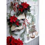 Dekorovanie s vianočnou ružou: aranžmán na stene z vianočných hviezd, korčulí a čečiny