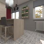 Zmodernizovaná kuchyňa s policami na bylinky, vo svetlom drevodekore, vzorovanou podlahou a vínovou stenou.
