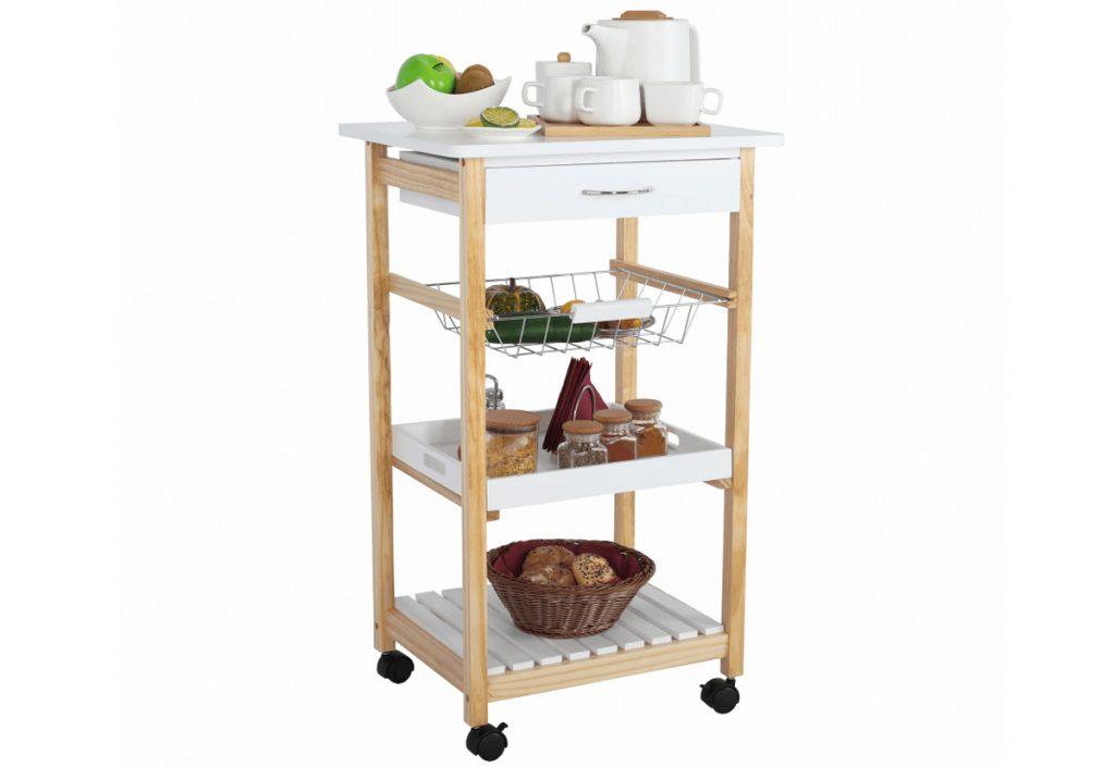 Ako zariadiť malú kuchyňu pre jednu osobu: odkladací vozík na kolieskach