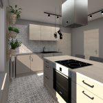 Zmodernizovaná priechodná kuchyňa so svetlou kuchynskou linkou, ostrovčekom na varenie aj stolovanie, vzorovanými obkladmi a v tónoch svetlého dreva a sivej.