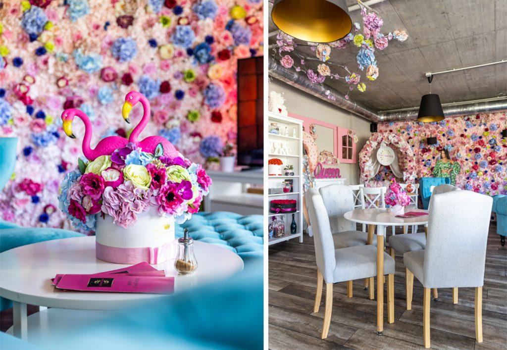 Romantický vintage interiér kaviarne Pink Garden