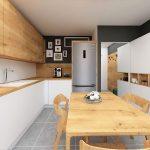 Dizajnérske riešenie veľkej kuchyne v malom byte