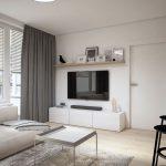 Obývačka v malom byte zariadená v minimalistickom škandinávskom štýle