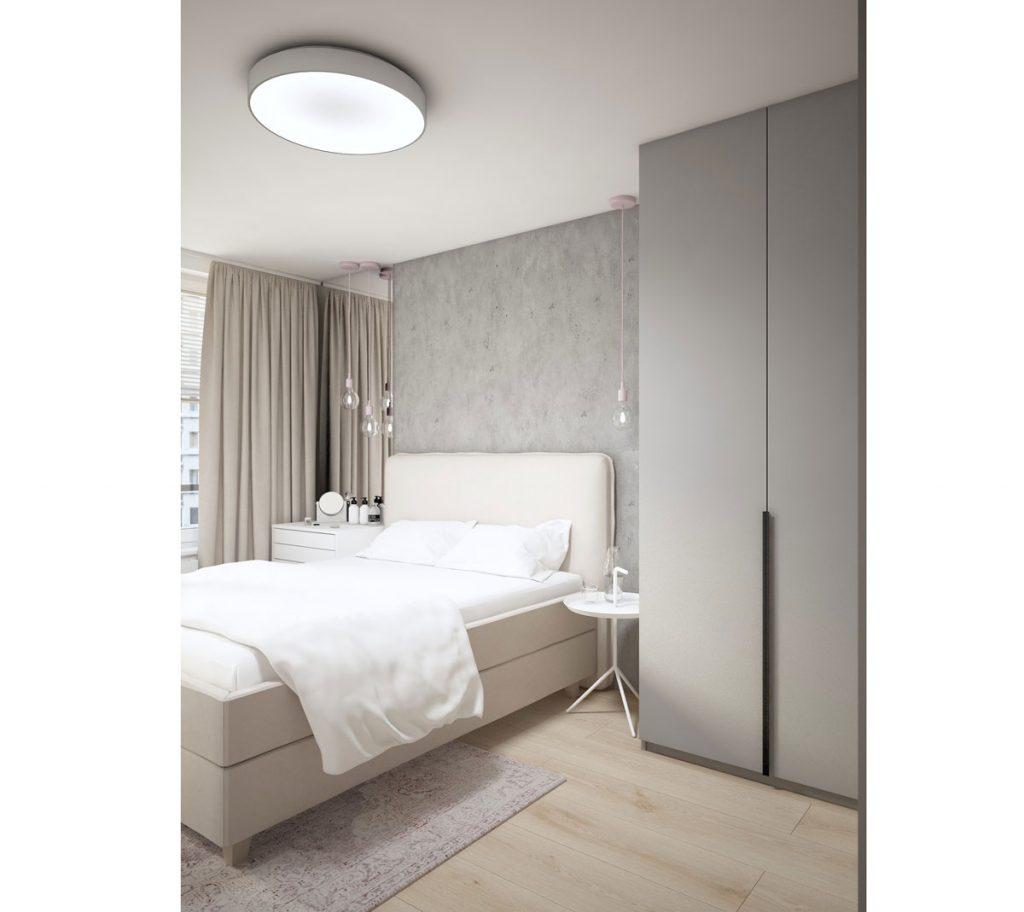 Menší priestor spálne v neutrálnych farbách s na mieru robenou šatníkovou skriňou