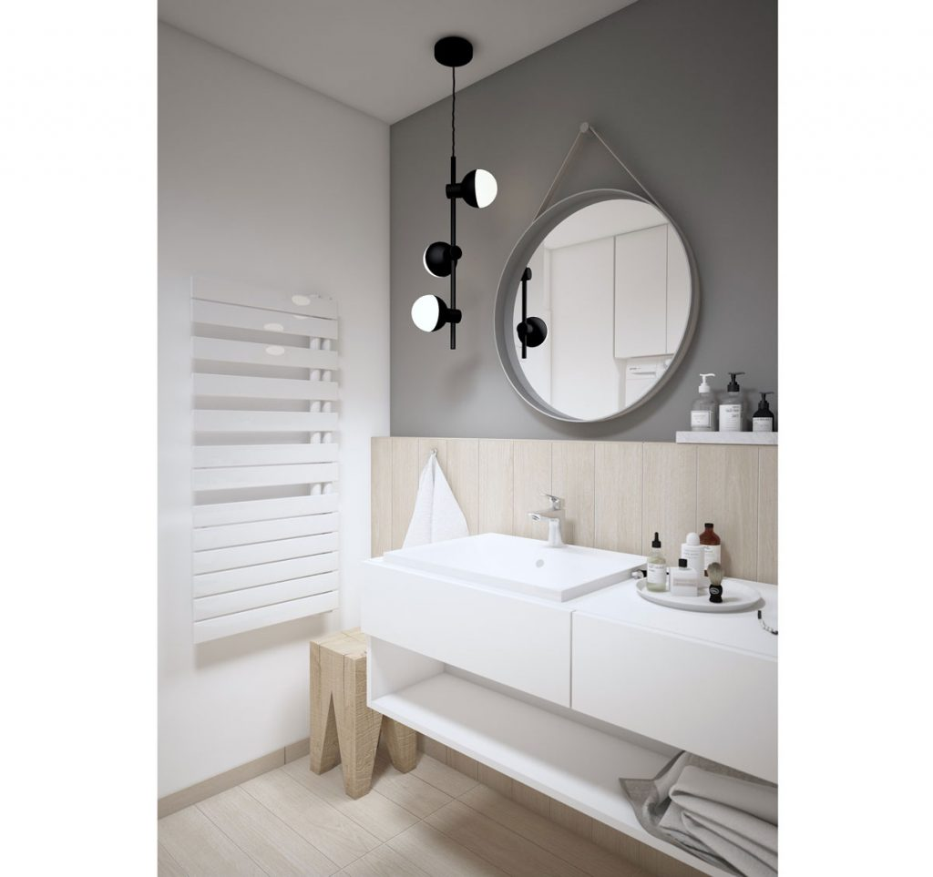 Kúpeľňa vo farbách bielej, sivej v spojení s drevom