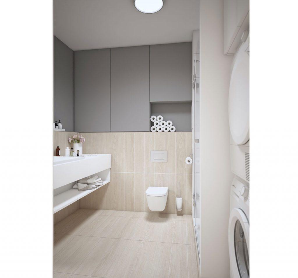 Minimalisticky zariadená kúpeľňa s práčkou a sušičkou