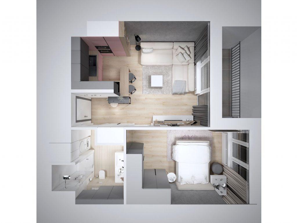 Pôdorys bytu v minimalistickom škandinávskom štýle