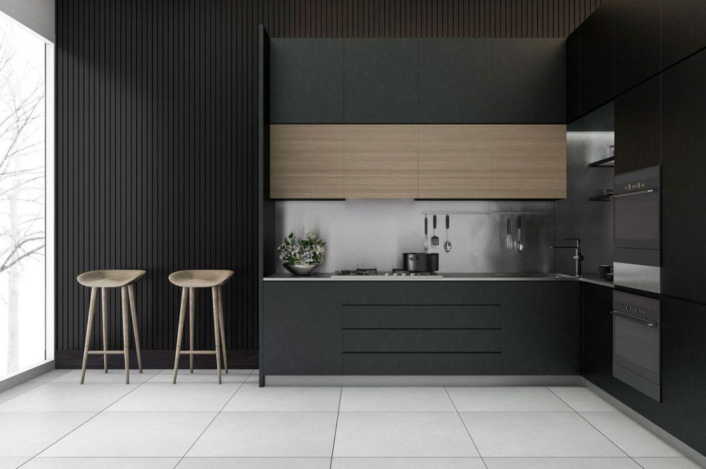 Minimalistická kuchyňa v tmavom prevedení so skrytými úložnými priestormi v čistých líniách a bez úchytiek