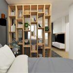 Oddelenie spálne a obývačky pomocou otvorenej knižnice