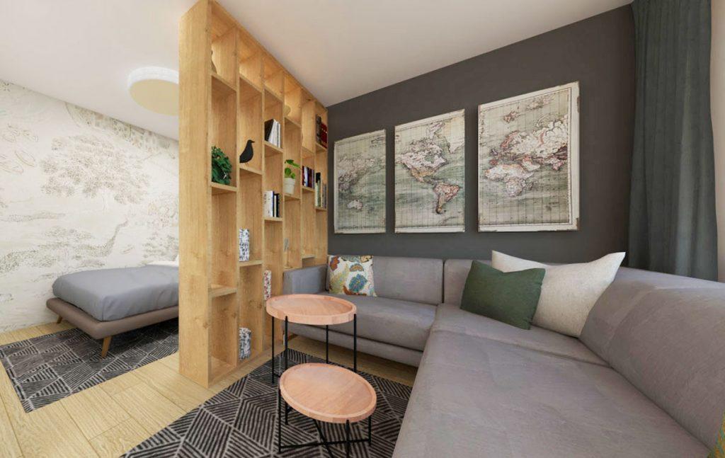Obývačka oddelená od spálne pomocou otvorenej knižnice.