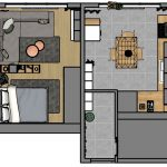 Pôdorys malého bytu s veľkou kuchyňou a spoločným priestorom pre obývačku a spálňu