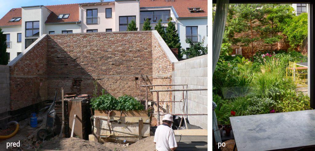 Stav záhradného dvora pred a po jeho obnove