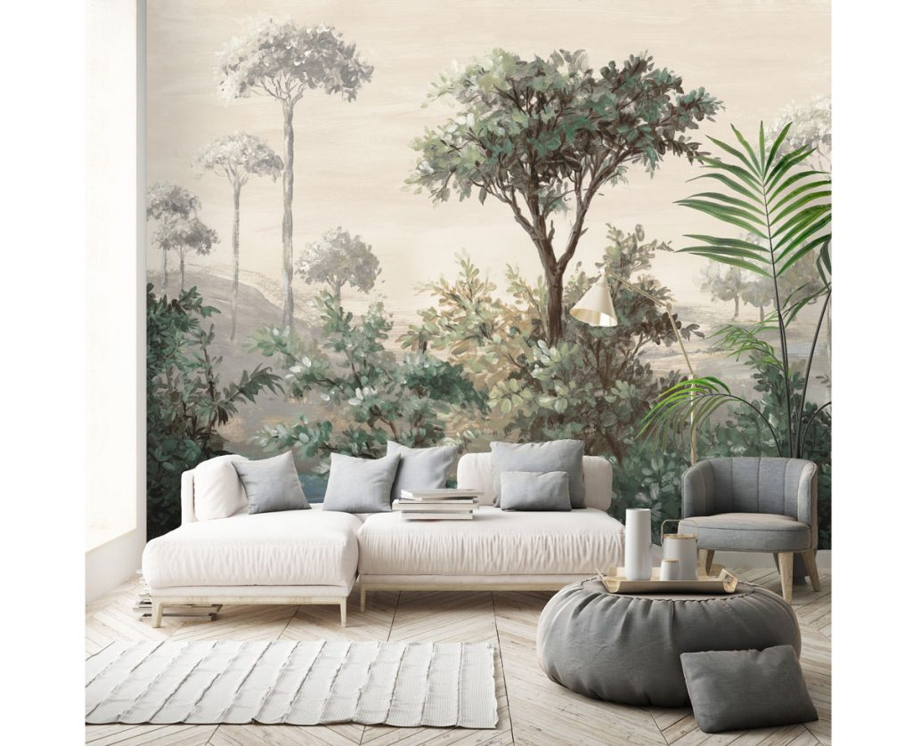 Neutrálna obývačka s tapetou maľby listnatých stromov