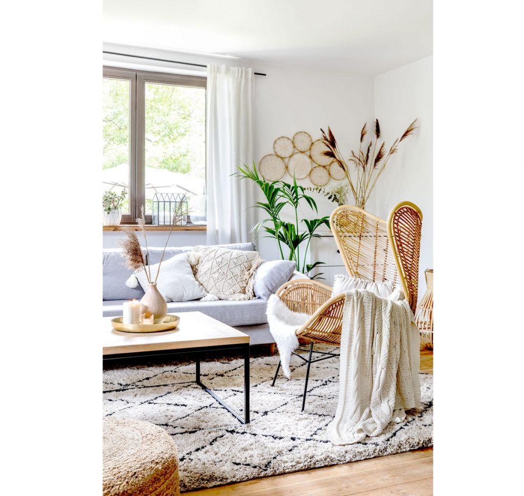 šesť trendov pre obývačky: obývačka v prírodnom boho štýle
