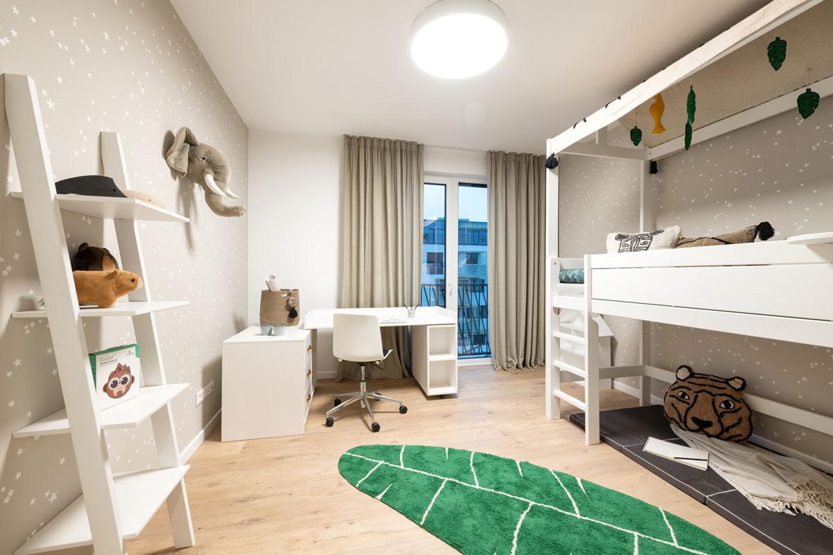 štvorizbový vzorový byt v Kolískach: detská izba s bielym nábytkom od dánskej značky Lifetime kidsroom