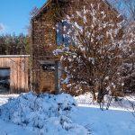 prírodná záhrada pri rodinnom dome pokrytá snehom