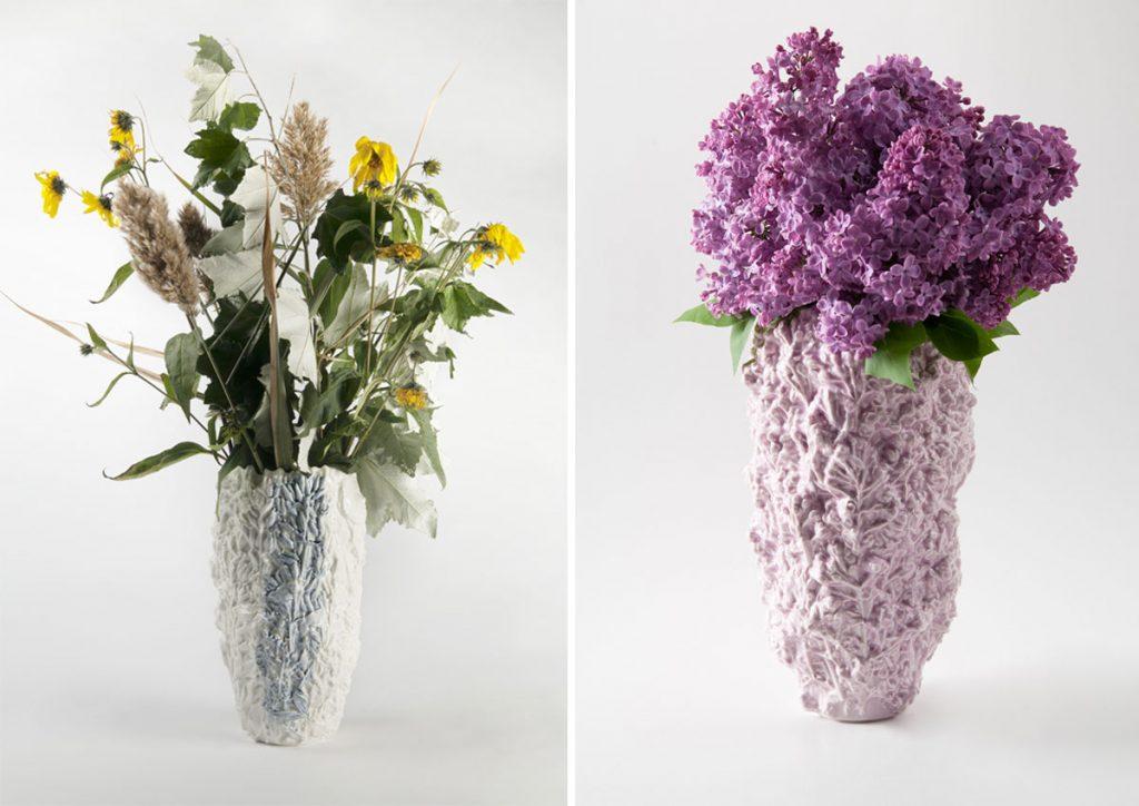 porcelánové vázy odlievané zo živých kvetov