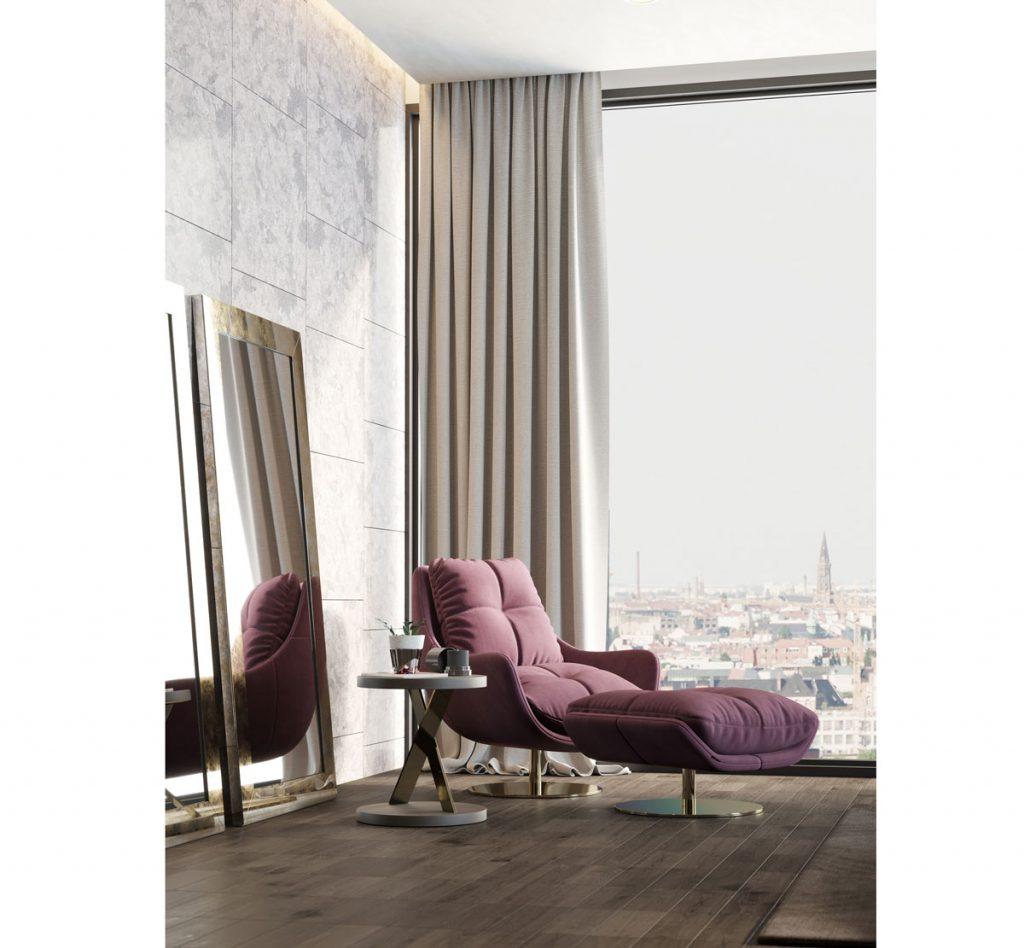 Interiér s veľkým obdĺžnikovým zrkadlom opretým o stenu