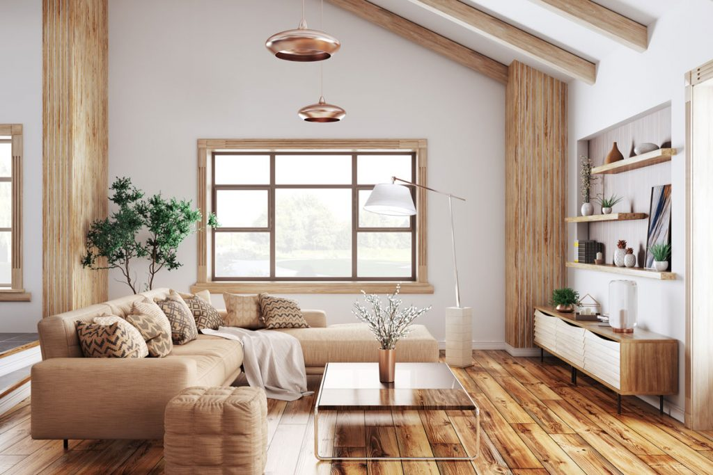 tipy na zmenu v kuchyni pre menší aj väčší rozpočet: obývačka v prírodnom štýle s drevenými policami zasadenými do výklenku v stene