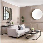 Obývačka s okrúhlym a štvorcovým zrkadlom
