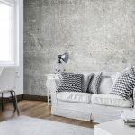 obývačka s fototapetou betónu