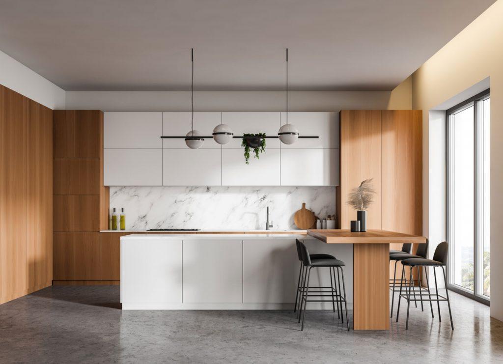 Drevo a betón v interiéri: kuchyňa s betónovou podlahou a drevenou kuchyňou z dreva