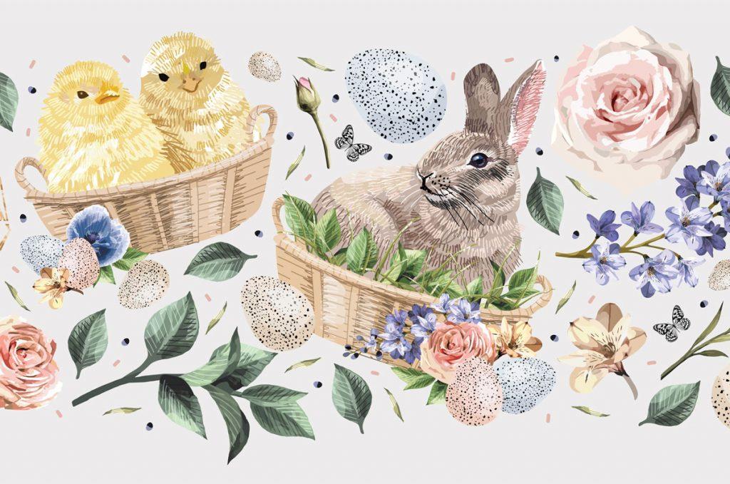 Veľkonočné tradície, ktoré možno (ne)poznáte: ilustrácia veľkonočného zajačika a kuriatka