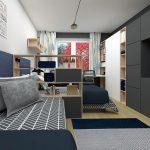 paneláková izba pre dvoch chlapcov: uzavreté úložné priestory s televíziou, postele oddelené otvorenými policami a pracovný kút