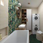 zrenovovaná kúpeľňa s obkladom s motívom opíc, dreveným nábytkom a vaňou