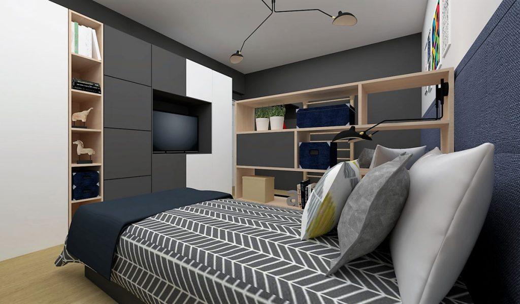 Chlapčenská detská izba: posteľ, otvorené úložné priestory a minimalistické skrine s televízorom.