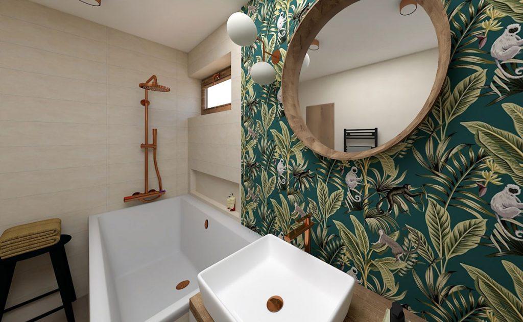 zrekonštruovaná kúpeľňa pre starší manželský pár, s obkladom s motívom džungle, dreveným zariadením a vaňou