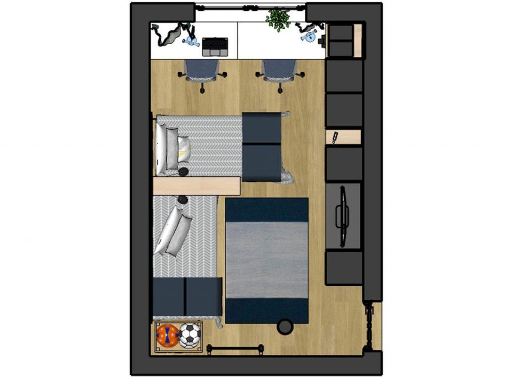 pôdorys návrhu panelákovej izby pre dvoch chlapcov