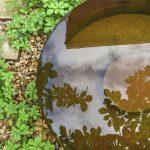 vodný prvok v záhrade vytvorený z cortenu