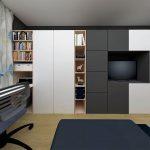 paneláková detská izba pre dvoch chlapcov s úložnými priestormi, skriňami a pracovným kútom