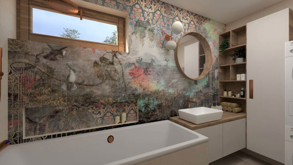 zrekonštruovaná kúpeľňa s tapetou