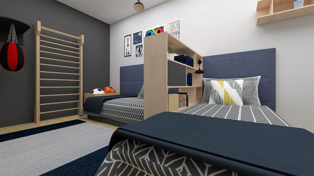 Dizajnérsky návrh panelákovej detskej izby pre dvoch chlapcov: postele predelené otvorenými policami a zóna s rebrinou a boxerským vrecom