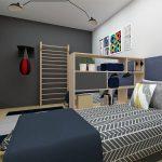 paneláková chlapčenská izba s posteľami, rebrinou, boxerským vrecom