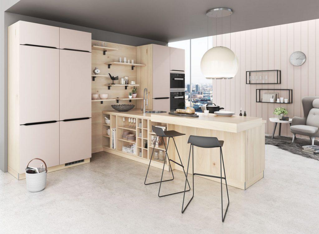 Moderná kuchyňa v svetlom dreve a matnom nude odtieni