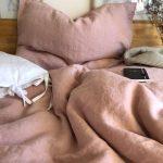 Ružové ľanové obliečky od Abreadbag