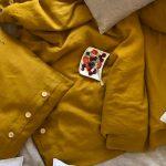Ľanové posteľné obliečky v žltej farbe od Abreadbag