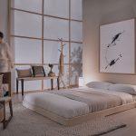 Spálňa v japonskom štýle s nízkou posteľou a minimalistickým abstraktným obrazom